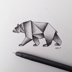 Image result for origami bear tattoo