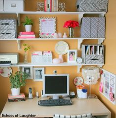5 Great Tips For Organizing Your Home Office - Echoes of Laughter - March 23 2019 at Office Shelf, Office Organization At Work, Office Nook, Home Office Storage, Home Office Space, Home Office Design, Home Office Furniture, Home Office Decor, Office Ideas
