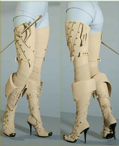 Bootleggers 2 - Double Trouble set is a very special set of boots. It contains a basic black thigh high boot, with several additional conforming pieces transforming the boots into an ultra sexy boot with straps or transforming it into a fantasy bo Moda Steampunk, Steampunk Fashion, Steampunk Boots, Steampunk Sword, Steampunk Leggings, Steampunk Dress, Character Outfits, Mode Style, Fashion Outfits