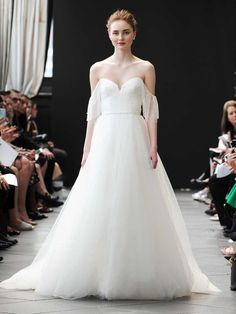 Nouvelle Amsale Spring 2019 bridal ballgown with off-the-shoulder draping and sweetheart neckline