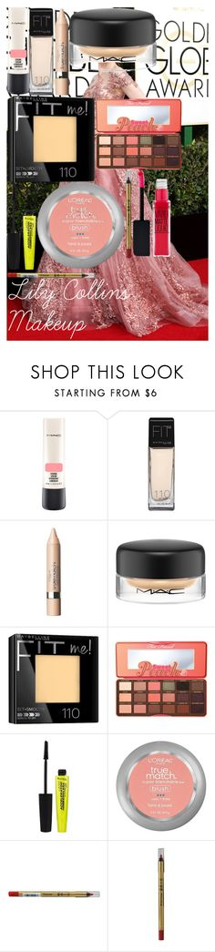 """Lily Collins Makeup"" by oroartye-1 on Polyvore featuring beauty, MAC Cosmetics, L'Oréal Paris, Maybelline, Too Faced Cosmetics, Rimmel and Max Factor"