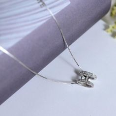 Sterling Silver Diamond H-shaped Necklace