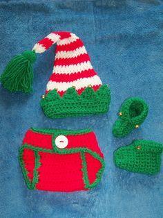 New Crochet Elf Hat With Jingle Bells, Diaper Cover & Booties Set Photo Prop #Handmade