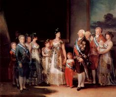 Charles IV of Spain and His Family, Francisco Goya, 1800-01, Prado Museum.  Man in the shadows in background left is Goya.  Maria Isabel, and her mother, Queen Maria Luisa stand in the center.