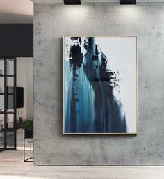 Large Dark Blue Abstract Painting White Abstract Painting Large Wall Decorative Art Abstract Painting Of Giant Peak Landscape Abstract Art - Painting Blue Abstract Painting, Abstract Canvas, Oil Painting On Canvas, Large Painting, Abstract Paintings, Figure Painting, Painting Art, City Art, Art Oil