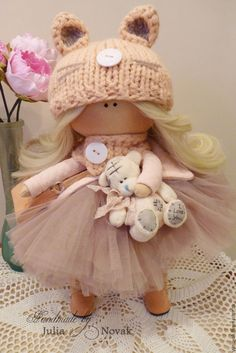 Купить Кукла ручной работы - кукла ручной работы, бежевый, фатин, волосы для кукол, шапочка