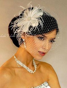 * Pearl Rhinestone Fascinator & Crystal Birdcage Bridal Veil 27-67