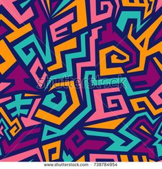 Seamless Maze Pattern in Street Art Style. Colorful Vector Background for Textile Design