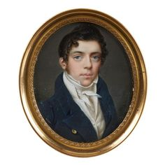 """Two Continental portrait miniatures of young gentlemen <br />  <br /> Heinrich Jakob Aldenrath (German, 1775-1884) and M. Cailliatte <br />  <br /> The first an oval portrait on ivory of a young gentleman in black coat, waistcoat and knotted cravat, signed 'Aldenrath', in gilt metal frame; the second an oval portrait painted in enamel on copper of a young gentleman in brown coat and yellow waistcoat with a white cravat, signed """"M. Cailliate"""", in gilt metal frame. (2). <br />  <br /> H: 2…"""