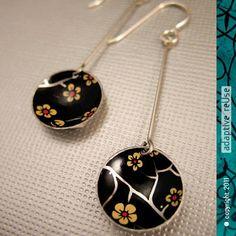 Golden Plum Blossoms on Black -- Long Basin Earrings
