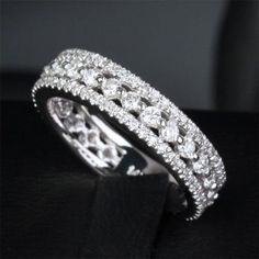 $889 Diamond Wedding Band Eternity Anniversary Ring 14k White Gold - Lord of Gem Rings - 1