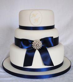 Navy blue and ivory wedding cake
