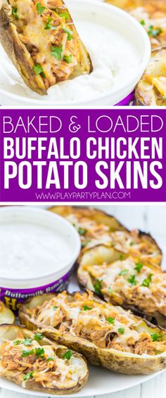 This buffalo chicken stuffed potato skins recipe is one of the best appetizer recipes ever! It's easy, quick to make, and loaded with homemade buffalo chicken filling! And because they're baked and homemade, they're almost even healthy - compared to ones you'd get at a restaurant. A perfect football party food! #ChipsDipsAndTips Sponsored