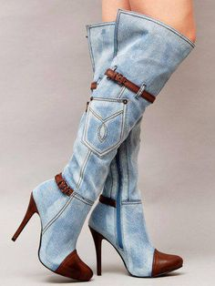 2017 Spring contrast color denim boots light blue color side zip buckles strap stiletto heels women knee boots plus size Pumps, High Heels Stilettos, High Heel Boots, Heeled Boots, Bootie Boots, Gladiator Boots, Stiletto Heels, Sexy Heels, Denim Boots