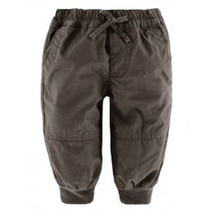 Full-length trousers, in cotton poplin, lined, with drawstring waist, front and back pockets, ribbed waistband and ankle.