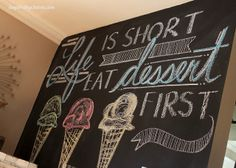 Eat Dessert First, one of my fave chalkboard DIY's, perfection for summer!! via Inspired by Charm