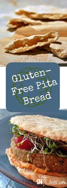 Gluten free pita bread, flatbread for pizza or naan! Versatile, easy, yeast-free and vegan gluten-free bread |gfJules