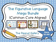 SALE- Fourth of July only! Save 30% EXTRA (total savings of seven dollars) off my best selling item, the Figurative Language Mega Bundle! It features alliteration, personification, idioms, and onomatopoeia. ($)