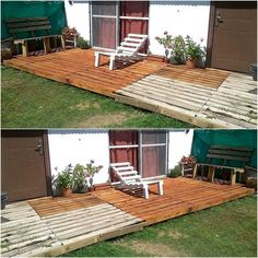 The garden is an area of the home, which requires equal attention in decoration as the other areas and if the lawn is spacious, then this idea of wood pallet garden deck can be copied to place the furniture on it as it will offer a place for seating. Old Pallets, Recycled Pallets, Recycled Wood, Wooden Pallets, Backyard Projects, Pallet Projects, Pallet Ideas, Crate Ideas, Backyard Ideas