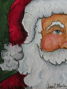 Artist Trading Card of Santa Claus by Marleyart on Etsy, $12.99