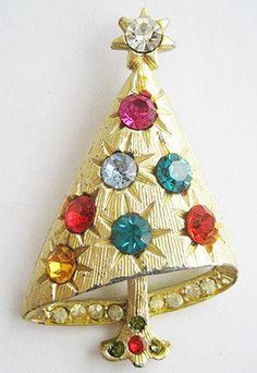 Designer Mylu Festive Dimensional Christmas Tree With Rhinestone Ornaments Brooch
