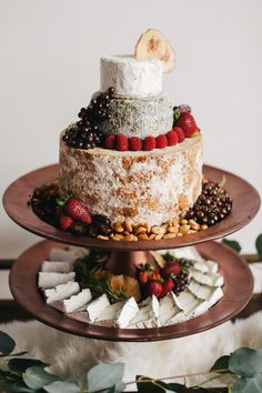 cheese cake - photo by Singler Photography http://ruffledblog.com/white-and-copper-winter-wedding