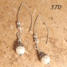 Freshwater Pearl, Filigree and Sterling Silver Earrings by FelicityDesignsLLC on Etsy