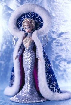 Snow-body does Arctic couture like this designer Barbie doll from the Bob Mackie International Beauty Collection. Fantasy Goddess of the Arctic™ Barbie® Doll.