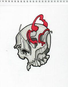 Tattoo, projekt, skull, Red, Black, white