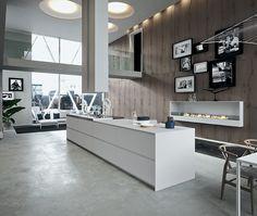 Stunning kitchen fireplace idea for the contemporary home - Decoist Kitchen Interior, Home Interior Design, Modern Interior, Interior Architecture, Interior Decorating, Design Kitchen, Kitchen Ideas, The Residents, Küchen Design