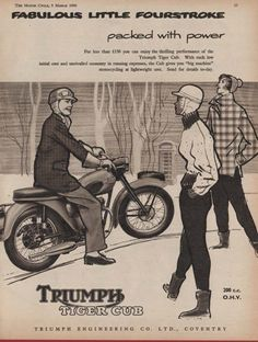 The TRIUMPH TIGER CUB 200cc MOTORCYCLE (1959 Advertisement) LOT 2 | eBay