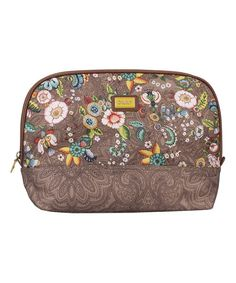 Tobacco French Flowers Large Curved Cosmetic Bag & Pocket Mirror From Oillily