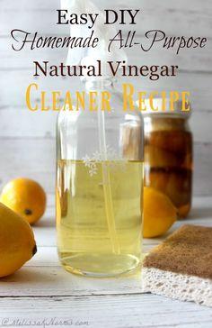 Natural Vinegar Cleaner Recipe-Easy DIY Homemade all-purpose cleaner Homemade All Purpose Cleaner, Cleaners Homemade, Diy Cleaners, Homemade Cleaning Supplies, Cleaning Recipes, Cleaning Tips, Vinegar Cleaner, Natural Cleaning Products, Diy Products