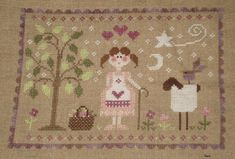 tralala cross stitch | by tralala stitched on 32 ct natural linen with different threads dmc ...
