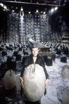 H.R. Giger on the set of the Alien movie. His artwork / concept art was the basis for much of the movie's visuals.