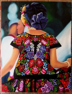 The art of a Tehuana dress. A Mexican Wonder. Mexican Costume, Mexican Outfit, Mexican Dresses, Folk Costume, Mexico Style, Mexico Art, Mexican Pattern, Mexican Textiles, Mexican Heritage