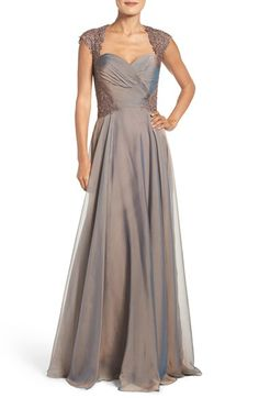 Free shipping and returns on La Femme Ruched Chiffon Gown at Nordstrom.com. Metallic beadwork illuminates the intricate lace yoke of a classically elegant evening gown crafted from shimmery, iridescent chiffon with a ruched sweetheart bodice that sculpts a flattering silhouette.