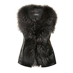 ETOSELL Womens Faux Fur Leather Sleeveless Coat Parka Waistcoat M *** Find out more about the great product at the image link.