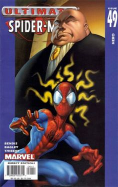 The cover to Ultimate Spider-Man #49 (2004), art by Mark Bagley, Art Thibert, & Transparency Digital