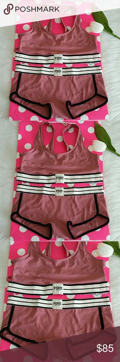 Nwt Pink Vs Strappy Bralette size M & Boyshort L Color soft begonia. Very cute Brand new with tag never worn   pink victoria's secret Strappy Bralette size M & Boyshort size L.  Smoke and pet free home.  Fast shipping + extra gift.  I don't trade love.  Available Feel free to buy.  Price for Set. PINK Victoria's Secret Intimates & Sleepwear Panties