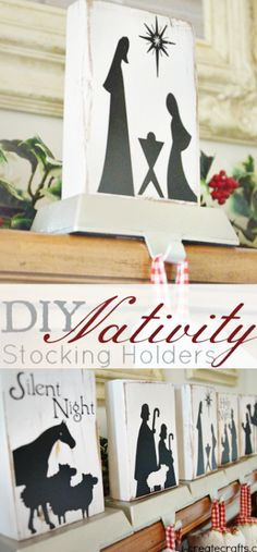 DIY Nativity Stocking Holders - or make a wooden child-proof nativity set! #stockingholders #christmas #nativity