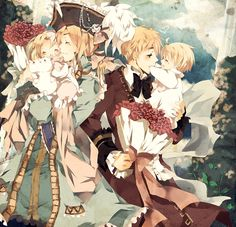 welcome home by ruretto.deviantart.com on @deviantART - A very cute (and very detailed!) picture of Francis, Matthew, Arthur, and Alfred.