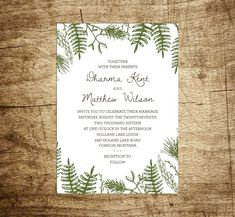 Printable Wedding Invitation - In the Woods, Customizable, Hand Drawn, Woodland, Ferns, Pine Bows, Forest, Rustic