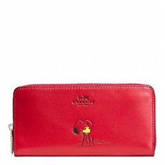 COACH X PEANUTS ACCORDION ZIP WALLET IN CALF LEATHER
