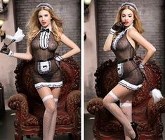 Sexy Maid Costume Lingerie Transparent Lace French Maid Cosplay