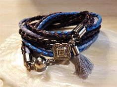BLOSSOM - Wickelarmband - blau-silbern Messing, Bracelets, Leather, Jewelry, Fashion, Leather Cord, Beads, Bracelet, Blue