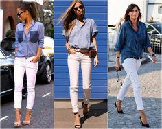 calça branca + camisa jeans