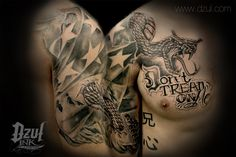 DON'T TREAD ON ME fully custom tattoo with modified snake and realistic torn American flag - By Jacob at www.dzul.com black and grey tattoo 3d tattoo Best Flag Tattoo