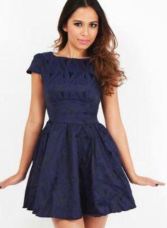 Blue Black Jacquard Print Skater Dress Capped Sleeves,  Dress, Retro Dress  Print  Vintage style, Chic