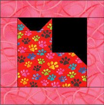 Our patchwork cat quilt block pattern is an easy quilting project that finishes at 12-inches square.